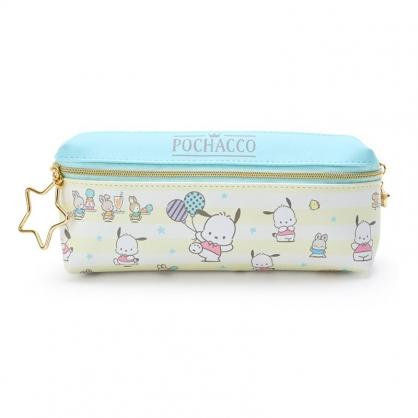 小禮堂 帕恰狗 方形皮質雙拉鍊筆袋 雙面筆袋 鉛筆盒 (黃藍綠 橫紋)