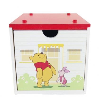 小禮堂 迪士尼 小熊維尼 木質單抽收納盒 積木盒 文具盒 飾品盒 可堆疊 (紅)