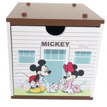 小禮堂 迪士尼 米奇米妮 木質單抽收納盒 積木盒 文具盒 飾品盒 可堆疊 (棕)