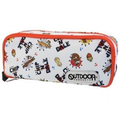 小禮堂 迪士尼 奇奇蒂蒂 尼龍雙層拉鍊筆袋 尼龍筆袋 鉛筆盒 鉛筆袋 OUTDOOR (白 滿版)
