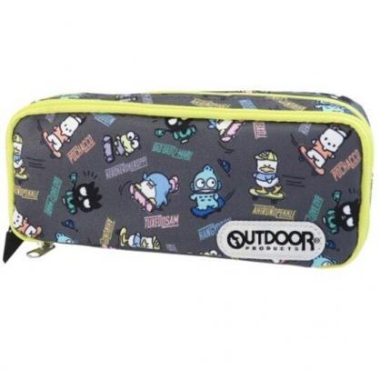 小禮堂 Sanrio大集合 尼龍雙層拉鍊筆袋 尼龍筆袋 鉛筆盒 鉛筆袋 OUTDOOR (灰 滿版)