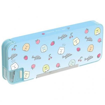 小禮堂 角落生物 日製 雙開式鉛筆盒 多功能鉛筆盒 塑膠筆盒 鉛筆袋  (藍 水果)