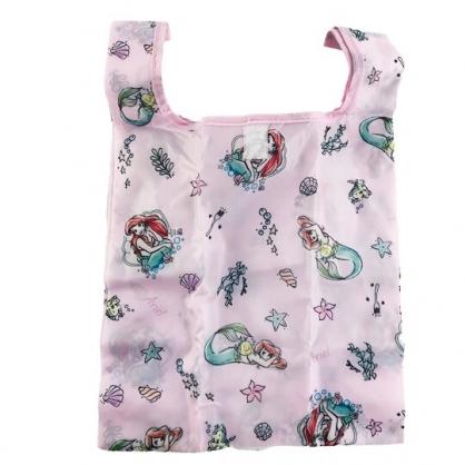小禮堂 迪士尼 小美人魚 折疊尼龍環保購物袋 環保袋 側背袋 手提袋 (粉 素描)