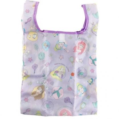 小禮堂 迪士尼 公主 折疊尼龍環保購物袋 環保袋 側背袋 手提袋 (紫 圓框)