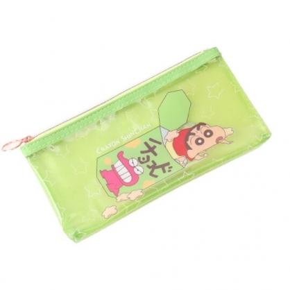 小禮堂 蠟筆小新 防水拉鍊筆袋 扁平筆袋  防水筆袋 鉛筆袋 鉛筆盒 (綠 餅乾)