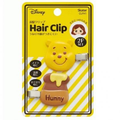 小禮堂 迪士尼 小熊維尼 造型塑膠鐵髮夾 玩偶髮夾 瀏海夾 小髮夾 (2入 黃 大臉)