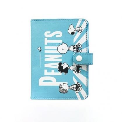 小禮堂 史努比 扣式皮質護照套 護照夾 票據夾 證件夾 卡片夾 (藍 斑馬線)