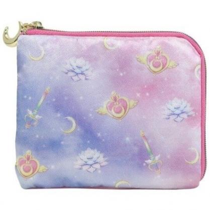 小禮堂 美少女戰士 方形緞面零錢包 尼龍零錢包 票卡包 小物包 (粉紫 滿版)