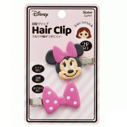 小禮堂 迪士尼 米妮 造型塑膠鐵髮夾 玩偶髮夾 瀏海夾 小髮夾 (2入 粉 大臉)