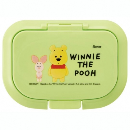 小禮堂 迪士尼 小熊維尼 方形塑膠濕紙巾蓋 濕巾盒蓋 濕巾蓋 抗菌Ag+ (綠 Q版)