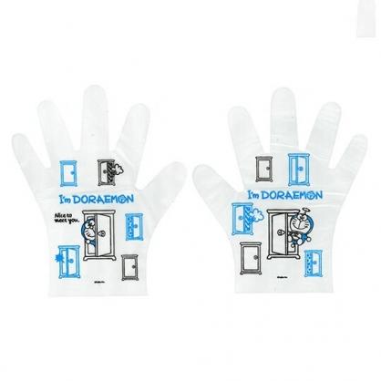 小禮堂 哆啦A夢 拋棄式手套 透明手套 塑膠手套 手扒雞手套 衛生手套 (20入 任意門)
