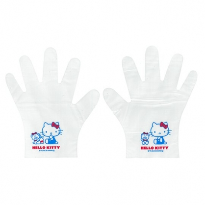 小禮堂 Hello Kitty 拋棄式手套 透明手套 塑膠手套 手扒雞手套 衛生手套 (20入 小熊)