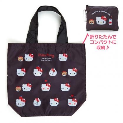 小禮堂 Hello Kitty 折疊尼龍環保購物袋 折疊環保袋 側背袋 手提袋 (黑 朋友)