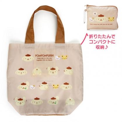 小禮堂 布丁狗 折疊尼龍環保購物袋 折疊環保袋 側背袋 手提袋 (棕 朋友)