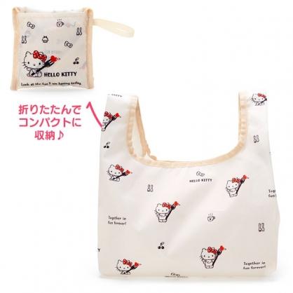 小禮堂 Hello Kitty 折疊尼龍環保便當袋 折疊環保袋 環保購物袋 午餐袋 (米 叉子)