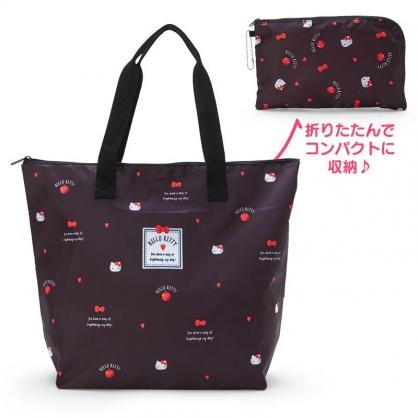 小禮堂 Hello Kitty 折疊尼龍環保購物袋 保冷環保袋 折疊環保袋 野餐袋 (黑 愛心?)