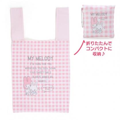 小禮堂 美樂蒂 折疊帆布環保購物袋 折疊環保袋 側背袋 帆布袋 (粉 格紋)