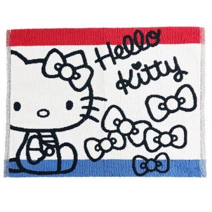 小禮堂 Hello Ktity 毛巾腳踏墊 吸水腳踏墊 浴墊 地墊 踏墊 45x60cm (藍紅 側坐)