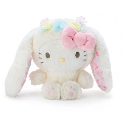 小禮堂 Hello Kitty 沙包絨毛玩偶 兔耳玩偶 沙包娃娃 小玩偶 布偶 (米 2021復活節)