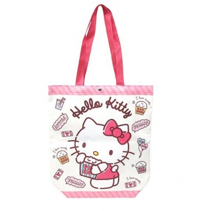 小禮堂 Hello Kitty 直式尼龍側背袋 扣式側背袋 尼龍托特包 手提袋 書袋 (粉 爆米花)