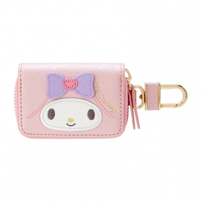 小禮堂 美樂蒂 皮質拉鍊鑰匙包 遙控器包 磁扣包 零錢包 鑰匙圈 (粉 大臉)