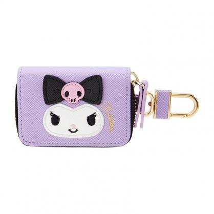 小禮堂 酷洛米 皮質拉鍊鑰匙包 遙控器包 磁扣包 零錢包 鑰匙圈 (紫 大臉)