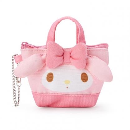 小禮堂 美樂蒂 造型帆布零錢包 掛飾零錢包 耳機包 鑰匙包 (粉 手提袋)