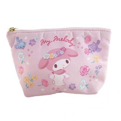 小禮堂 美樂蒂 船形厚棉化妝包 棉質化妝包 三角化妝包 小物包 (粉 花朵)