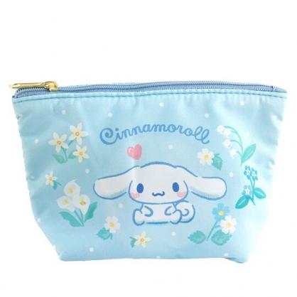 小禮堂 大耳狗 船形厚棉化妝包 棉質化妝包 三角化妝包 小物包 (藍 花朵)