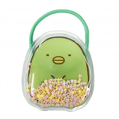 小禮堂 角落生物 企鵝 造型流沙彈力髮圈 透明髮圈 玩偶髮圈 小髮圈 (2入 綠)