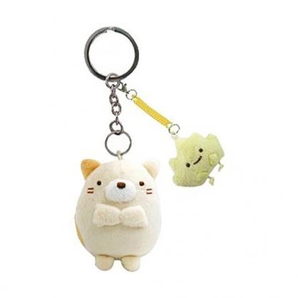 小禮堂 角落生物 絨毛鑰匙圈 眼鏡布 絨毛吊飾 玩偶鑰匙圈 拭鏡布 (黃 貓咪)