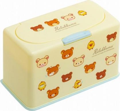 小禮堂 懶懶熊 方形按壓彈蓋口罩盒 塑膠口罩盒 口罩收納盒 面紙盒 (黃 大臉)