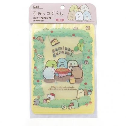 小禮堂 角落生物 日製 直式方形透明夾鏈袋組 塑膠分裝袋 糖果袋 飾品袋 (5入 綠 蘋果樹)