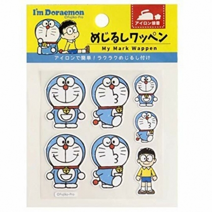 小禮堂 哆啦A夢 日製 造型燙布貼組 口罩裝飾貼 刺繡布貼 衣服燙貼 布飾 (藍 對坐)