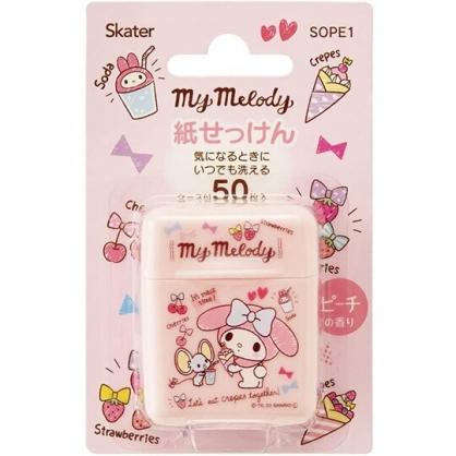 小禮堂 美樂蒂 攜帶型盒裝紙肥皂 紙香皂 皂紙 50入 (粉 插圖)