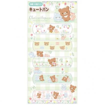 小禮堂 懶懶熊 日製 OK繃 貼布 繃帶 絆創貼 袋裝 10枚入 (綠 格紋)