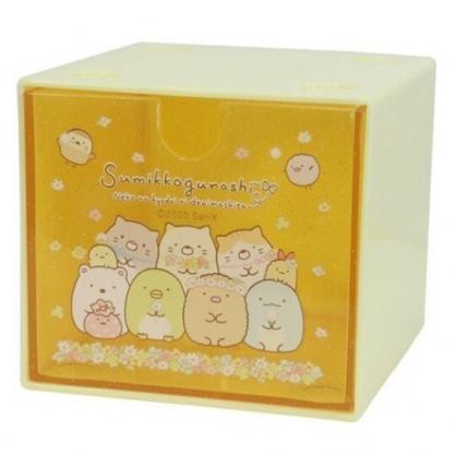 小禮堂 角落生物 方形單抽收納盒 透明抽屜盒 積木盒 飾品盒 可堆疊 (黃 花圈)
