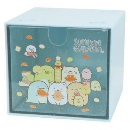 小禮堂 角落生物 方形單抽收納盒 透明抽屜盒 積木盒 飾品盒 可堆疊 (藍 麵包)