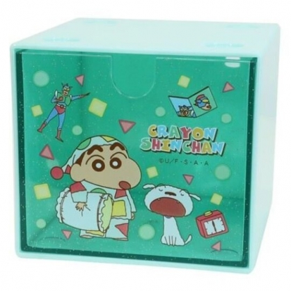 小禮堂 蠟筆小新 方形單抽收納盒 透明抽屜盒 積木盒 飾品盒 可堆疊 (綠 睡衣)