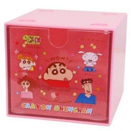 小禮堂 蠟筆小新 方形單抽收納盒 透明抽屜盒 積木盒 飾品盒 可堆疊 (粉 介紹)