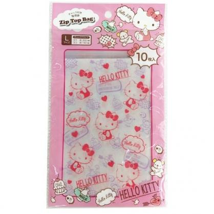 小禮堂 Hello Kitty 直式方形透明夾鏈袋組 塑膠分裝袋 糖果袋 飾品袋 銅板小物 (S 10入 粉)