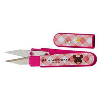 小禮堂 小熊學校 日製 縫紉剪刀 附蓋 針線剪刀 裁縫剪刀 線頭剪 (桃 格紋)