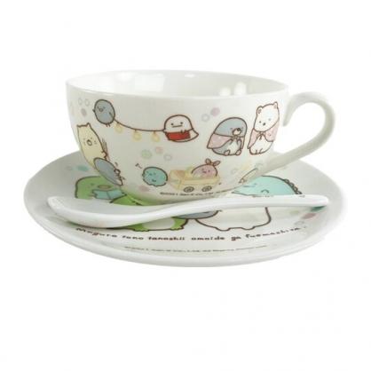 小禮堂 角落生物 陶瓷單耳碗盤組 附匙 濃湯杯 沙拉盤 點心盤 湯碗 (粉 鑽石)