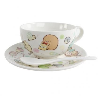 小禮堂 角落生物 陶瓷單耳碗盤組 附匙 濃湯杯 沙拉盤 點心盤 湯碗 (黃 鑽石)