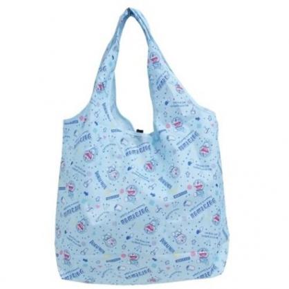 小禮堂 哆啦A夢 折疊尼龍環保購物袋 折疊環保袋 側背袋 手提袋 (藍 大笑)