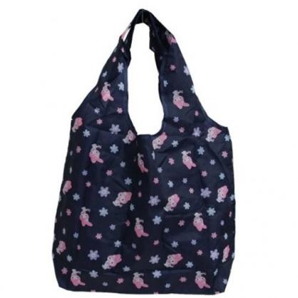 小禮堂 美樂蒂 折疊尼龍環保購物袋 折疊環保袋 側背袋 手提袋 (黑 花朵)