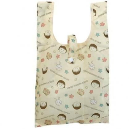 小禮堂 櫻桃小丸子 折疊尼龍環保購物袋 折疊環保袋 側背袋 手提袋 (黃 兔子)