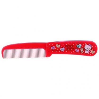 小禮堂 Hello Kitty 塑膠折疊梳 隨身梳 手握梳 折梳 扁梳 (紅 愛心)
