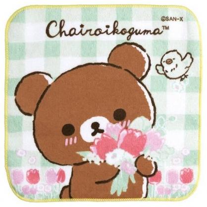小禮堂 懶懶熊 純棉割絨方巾 純棉手帕 小毛巾 21x21cm (綠 格紋)
