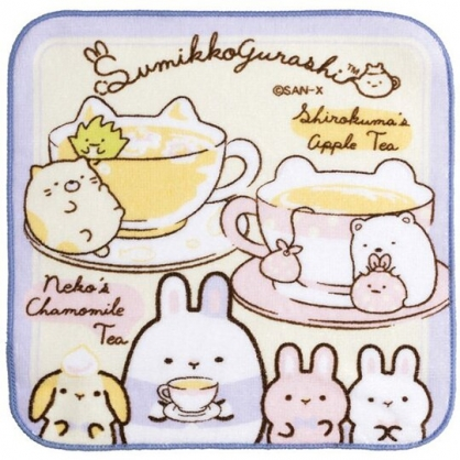 小禮堂 角落生物 純棉割絨方巾 純棉手帕 小毛巾 21x21cm (黃 咖啡杯)